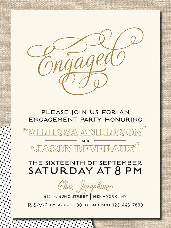 "engagement party invitation diy printable invitation ""engaged, Birthday invitations"