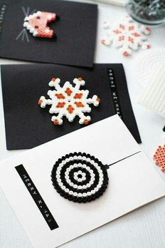 Pyssla Ikea Beads Winter Christmas Card Ideas Perler Targhette