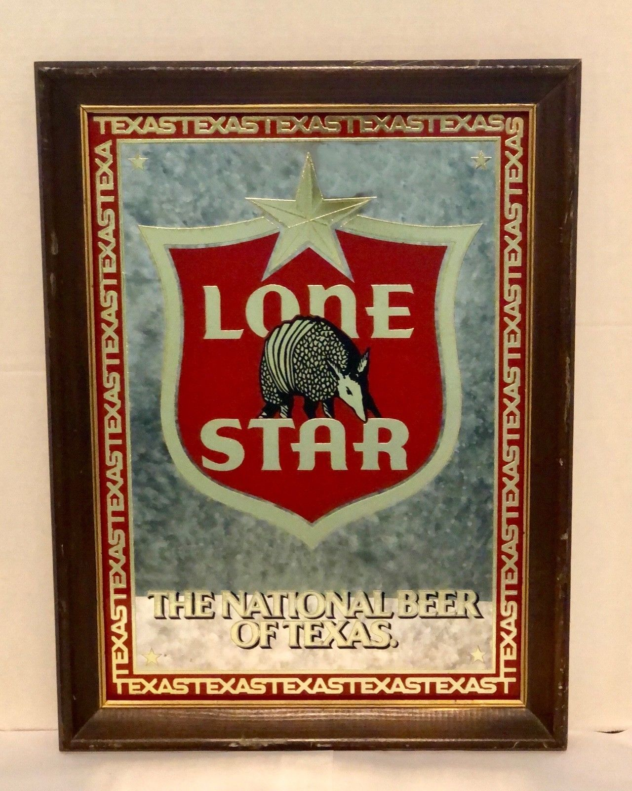 Lone Star Armadillo Framed Beer Mirror Sign Mirror Sign Lone