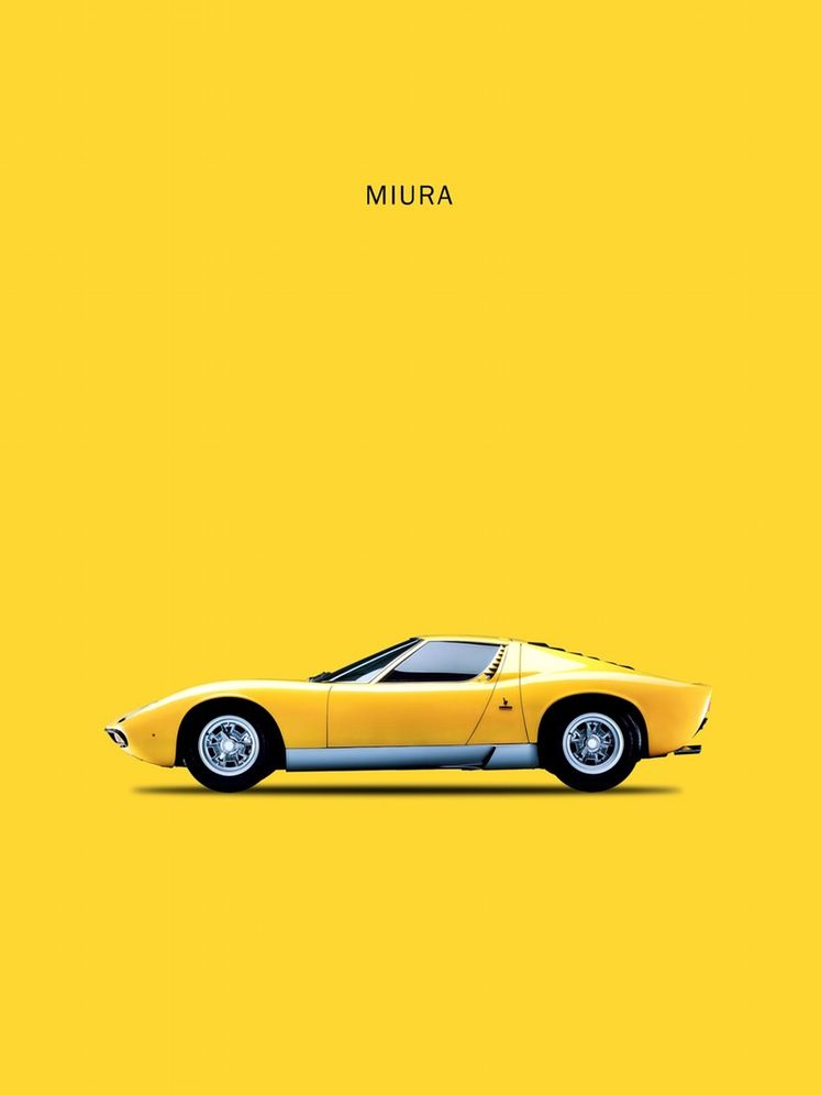 Miura Yellow Automoblie Prints Posters Weird Cars Cars