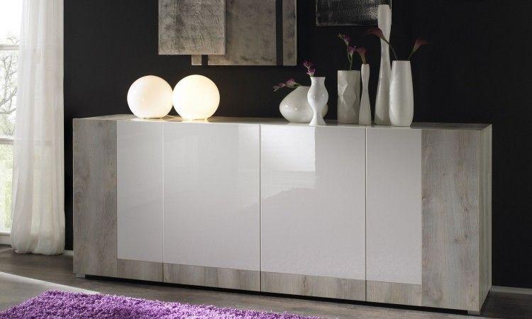 Credenza Moderna 4 Ante Basic : Madia design moderno ante pino bianco e laccato lucido casa