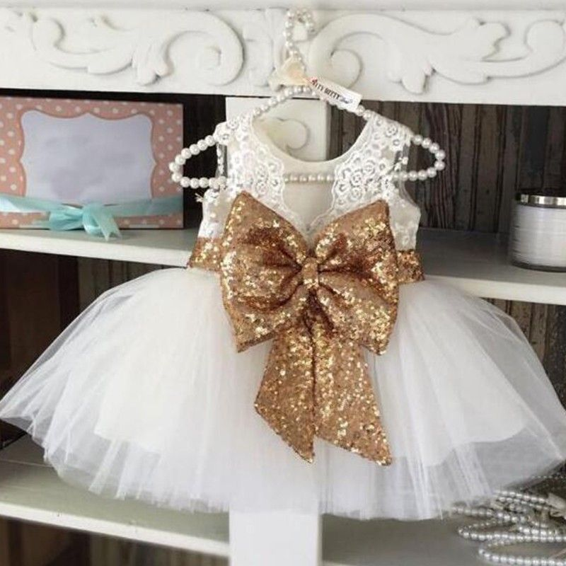 69a254b2ec Gold Sequin Bow White Fairy Dress | Baby Birthday Dresses Online ...