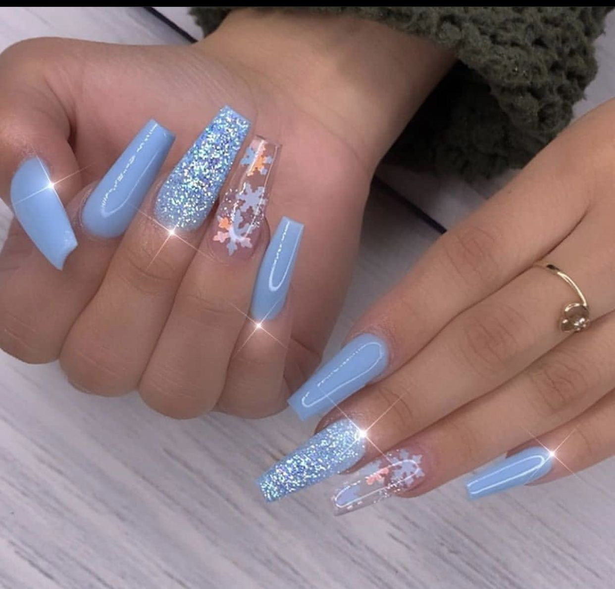 Blue Winter Nails In 2020 Blush Nails How To Grow Nails