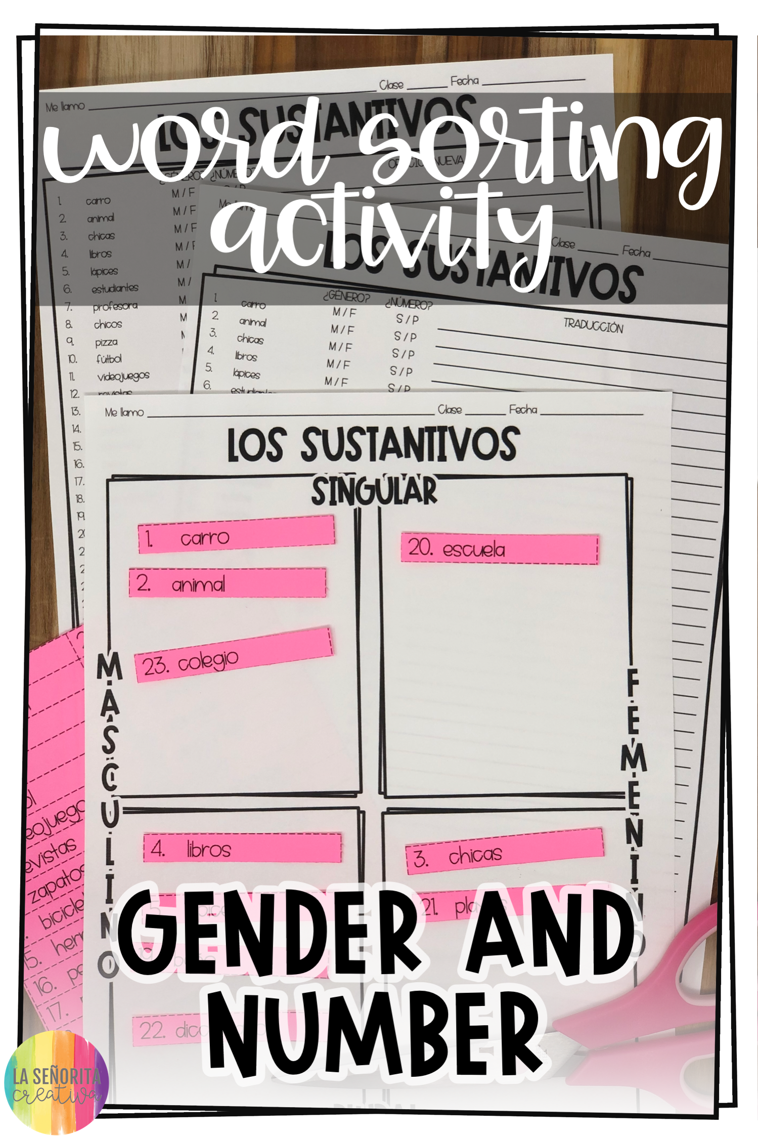 Gender And Number Of Nouns Spanish Sorting Activity And