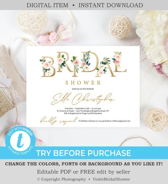 Floral Letters Bridal Shower Invitation Template Printable Gold and