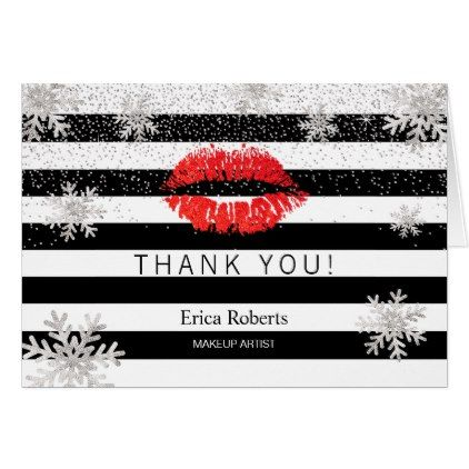 Red Lips Snowflakes Modern Stripes Thank You Zazzle Com Gold