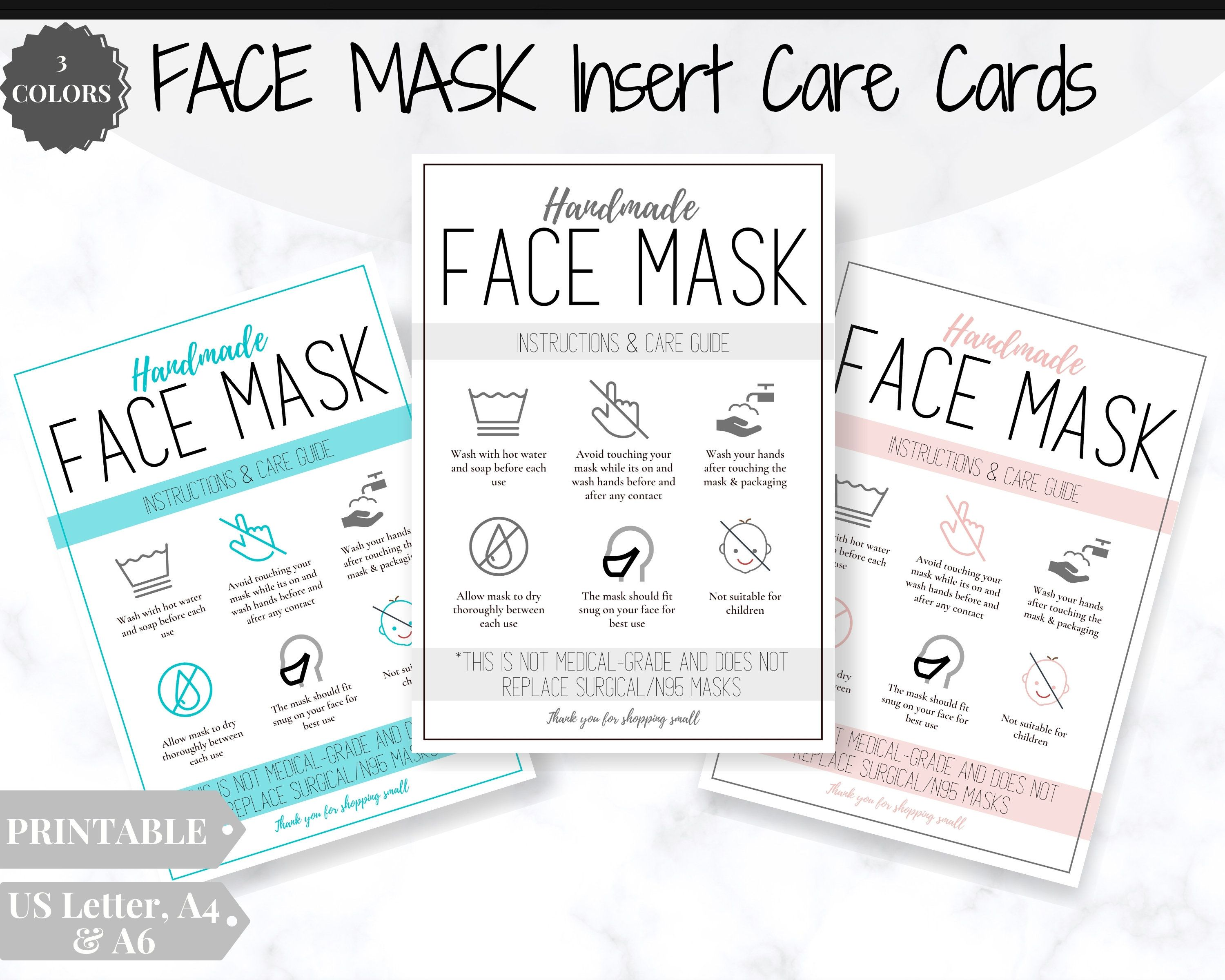 Face Mask Label Care Card How To Handle Order Card Face Mask Printable Instructions Business Labels Face Mask Seller Package Label Tag Business Labels Thanks Card Face Mask