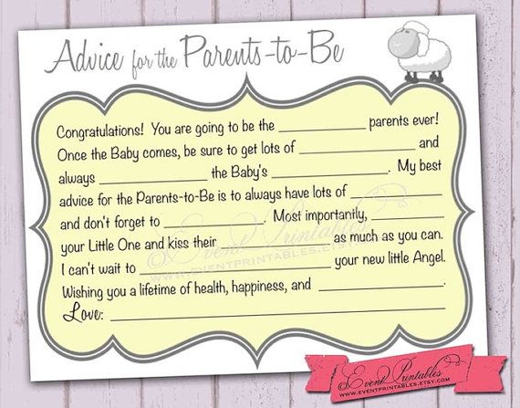 Diy Printable Baby Shower Mad Lib Advice Cards Yellow Wish Cards
