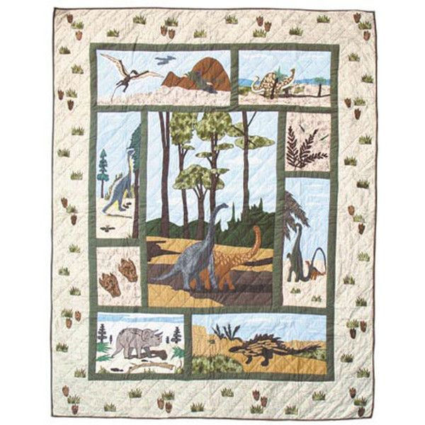 Dinosaur Quilt Size: Twin ($160) ❤ liked on Polyvore