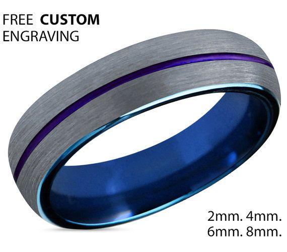 Tungsten Ring Mens Blue Silver Purple Wedding Band Tungsten Ring