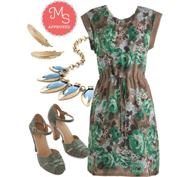 In this outfit: Greenery Gal Dress, Quill You Look at That! Barrette Set, Coffee Shop Celebration Necklace in Blue, Get Loud Heel in Sage