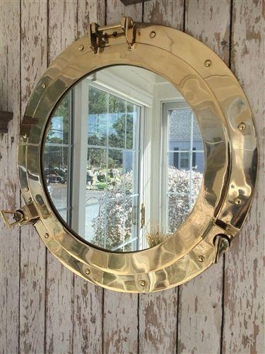 "Photo of 20"" Brass Porthole Mirror ~ Nautical Maritime Wall Decor ~ Ship Cabin Window"