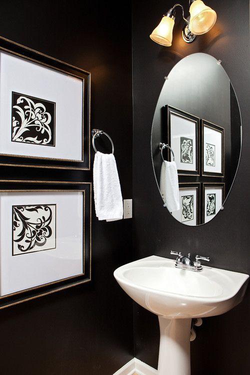 Wall Color Is Sherwin Williams Caviar Powder Room Paint Black Paint Color Powder Room Design
