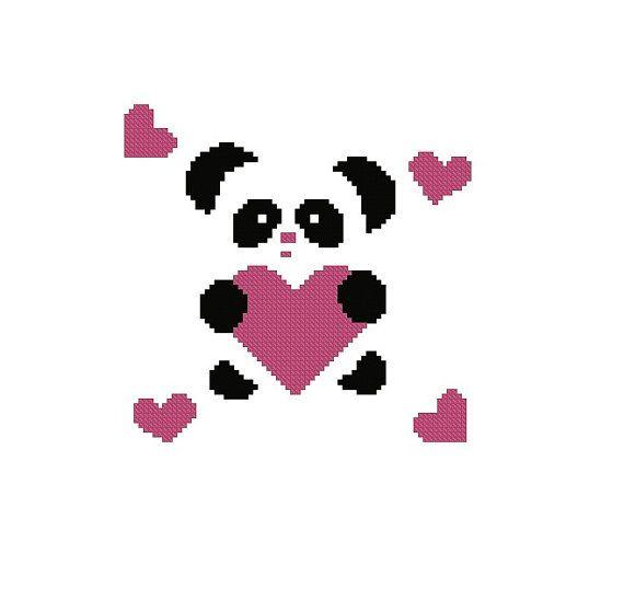 Cute Panda with Heart cross stitch pattern PDF Instant Download