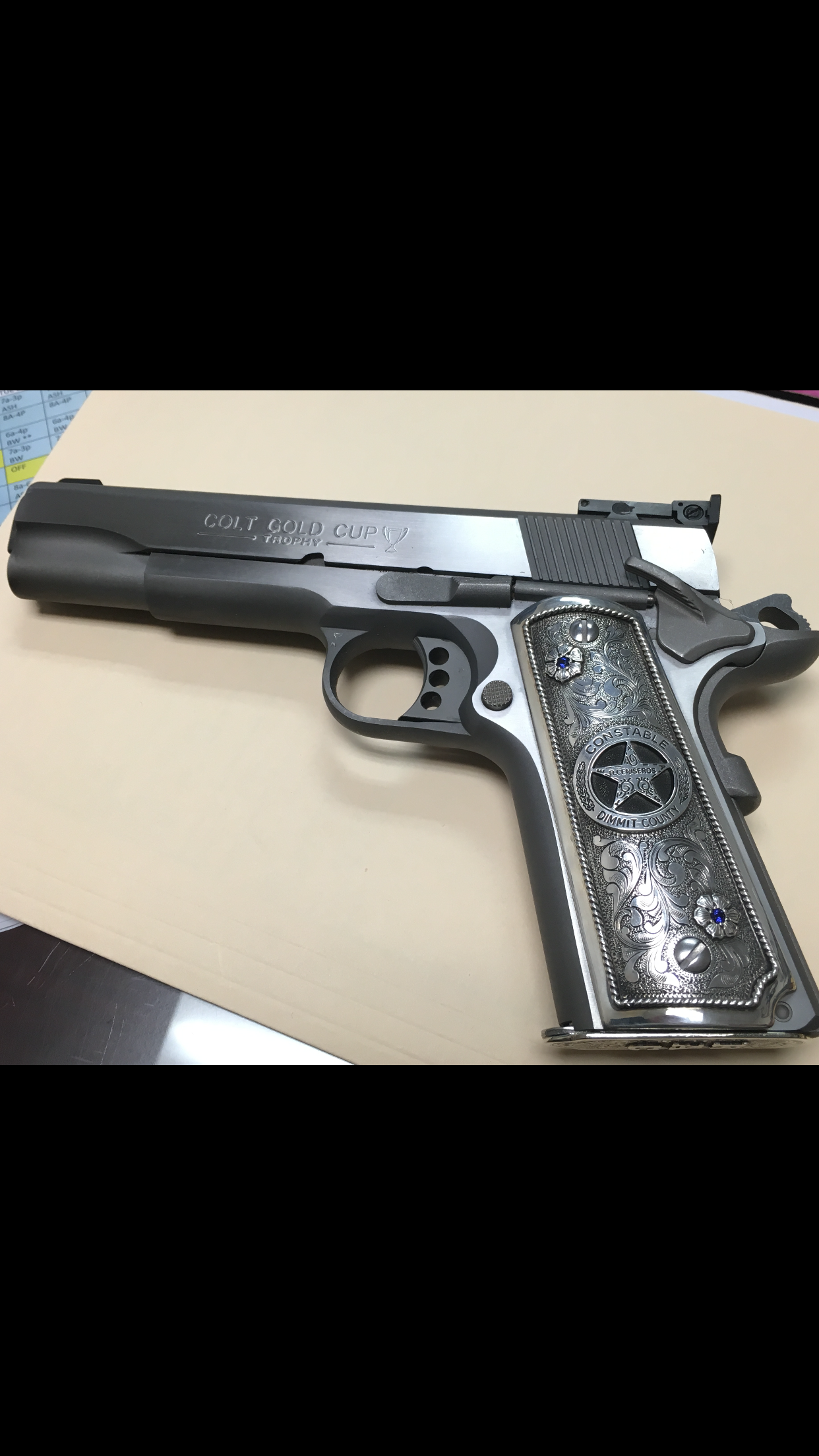 1911 Colt custom grips made by Lopez Engraving | Work | Hand