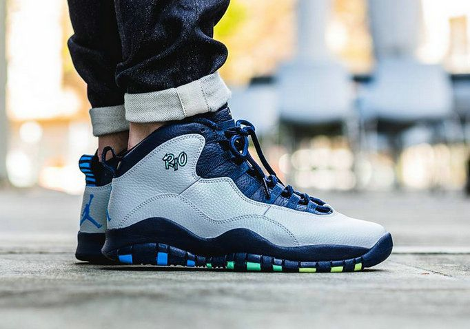444a78c52f2b61 Youth Big Boys AIR JORDAN 10 RIO Wolf Grey Photo Blue Obsidian Green Glow  310805 019