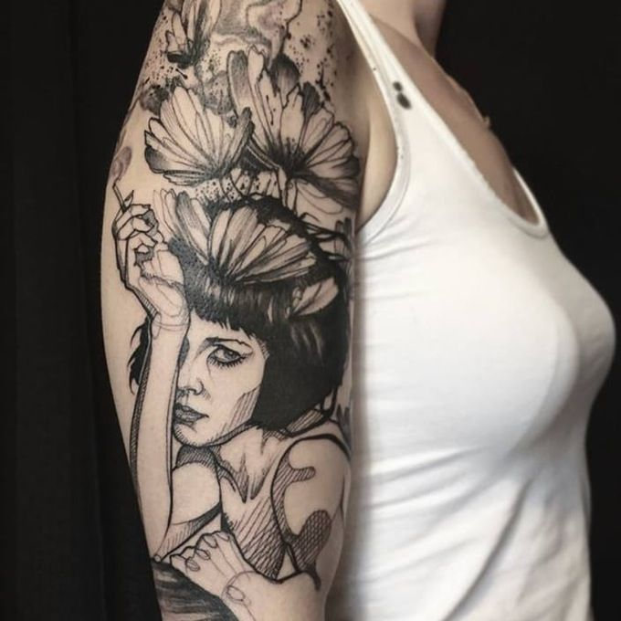 contemporary tattoo by l 39 oiseau tats tattoos gorgeous tattoos sketch style tattoos. Black Bedroom Furniture Sets. Home Design Ideas