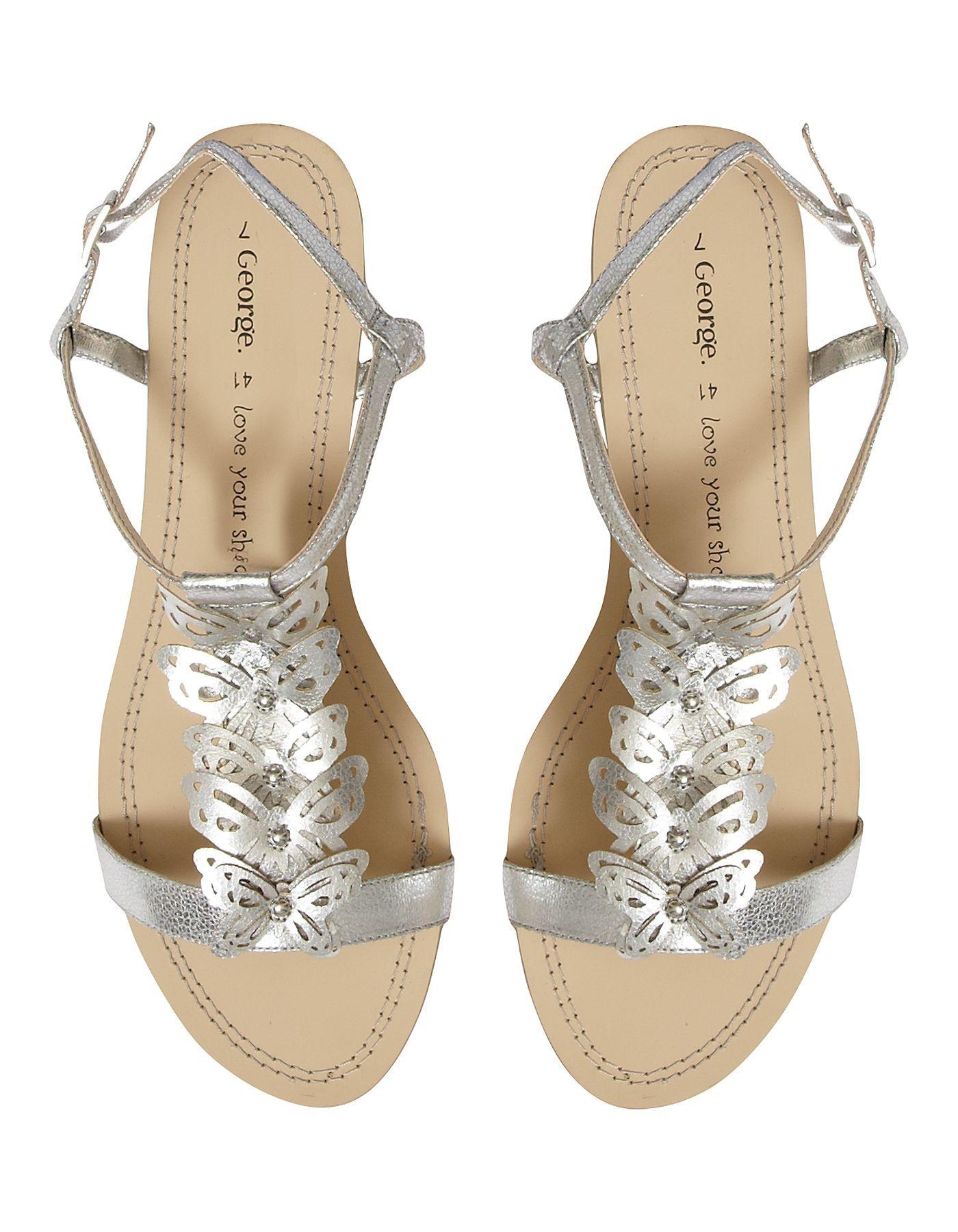 Butterfly Trim Sandals - Metallic