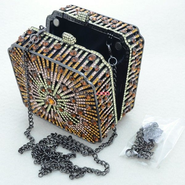 Luxurious Square Brown Clutch Evening Handbag Purse Bag W/ Swarovski Crystals