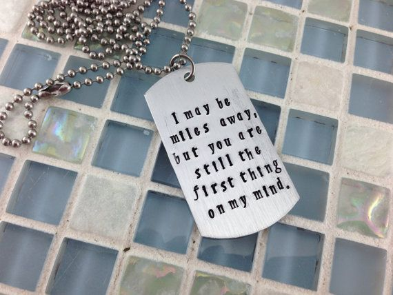 Hand Stamped Message Dog Tag Military Deployment Gift Deployment Gifts Dog Tags Hand Stamped