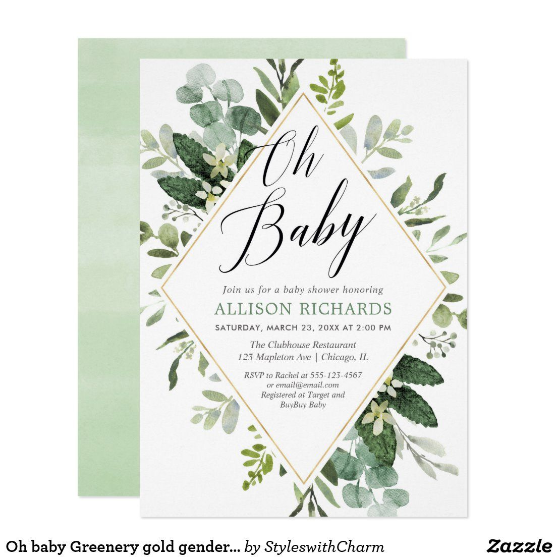 Oh baby Greenery gold gender neutral baby shower