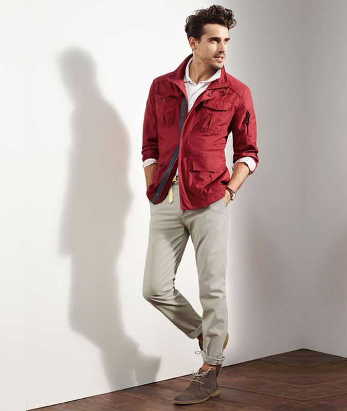 Men's Rolled/Turned-Up Chinos With Desert Boots Outfit ...