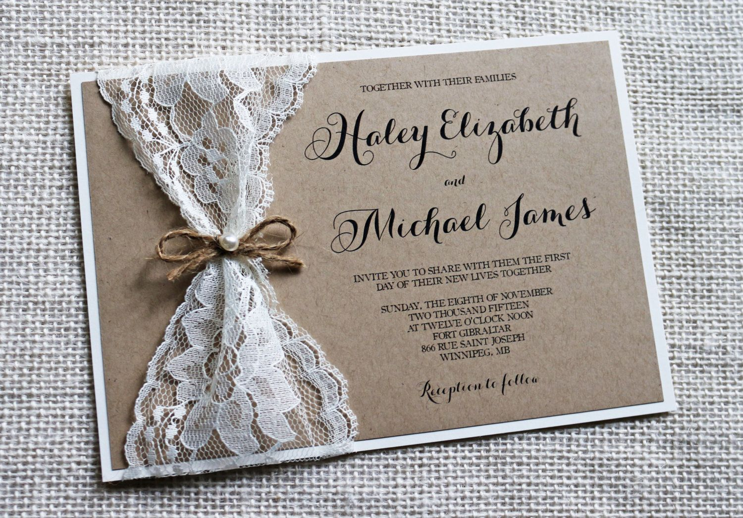 Rustic Wedding Invitation Lace Wedding by LoveofCreating