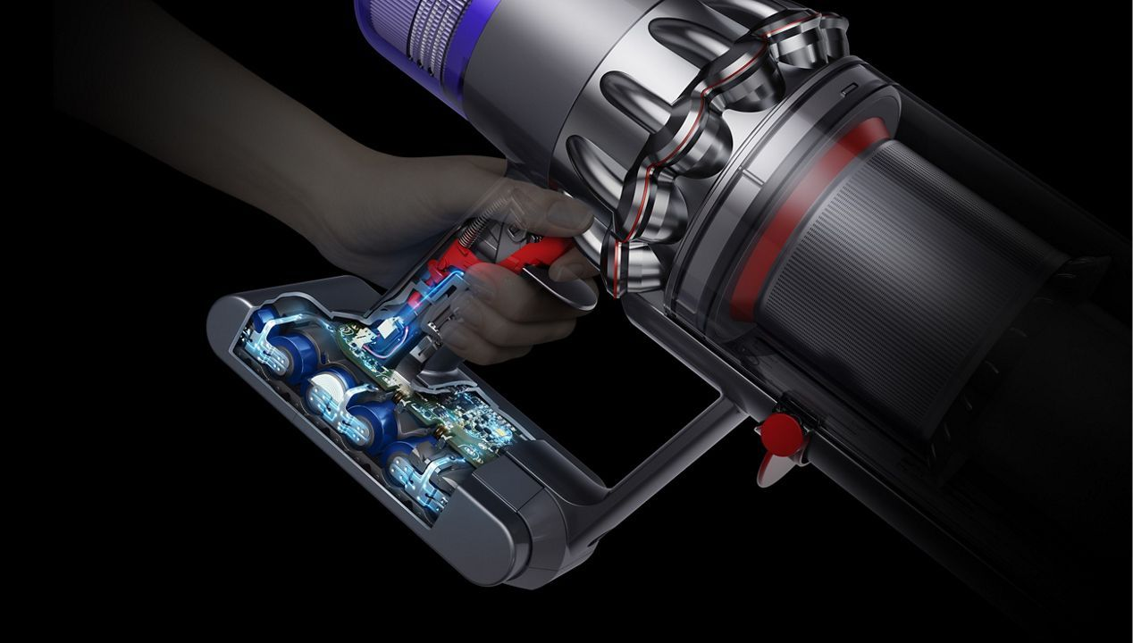 Cutaway diagram of Dyson V11™ vacuum trigger and battery