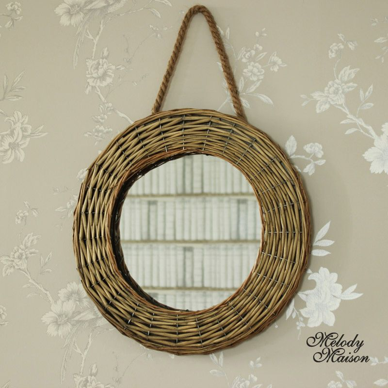 Natural Wicker Round Wall Mirror An Unusual Wall Mirror In