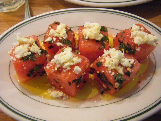 feta-watermelon salad w/ mint and chiles - pizzeria delfina san francisco | Yelp