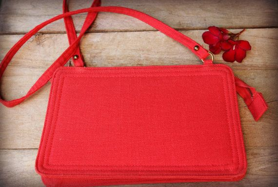 64bb5c27bc0 Vintage Red Pappagallo Handbag Linen Fabric by MoonstruckVintageAZ ...