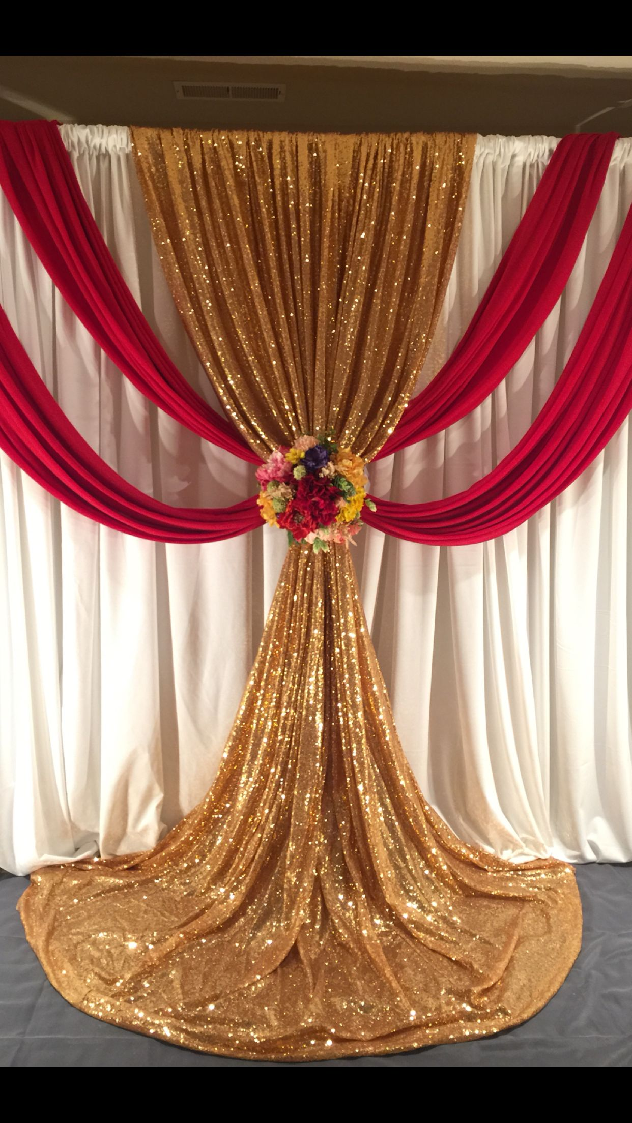 Wedding Ceremony Backdrop Red And Gold Draping Wedding Ceremony