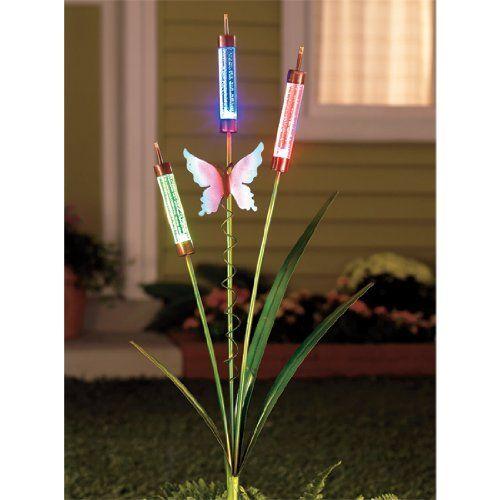 Solar Garden Decor | Butterfly Solar Cattails Garden Stake Decor | Solar  Garden Lights
