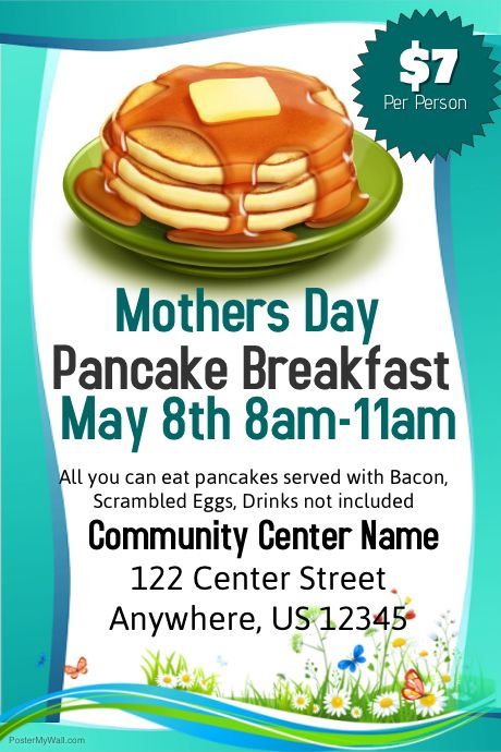 customize this poster template with your photos and text mothers day pinterest pancake breakfast template and nonprofit fundraising