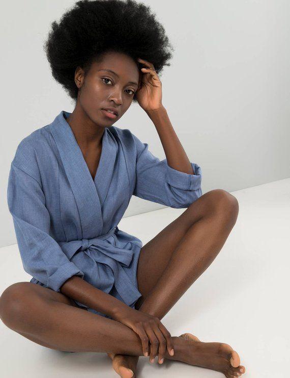 b3c298826c Blue linen shorts and top Linen womans set Sleepwear lingerie Linen kimono  jacket Pajama short set B