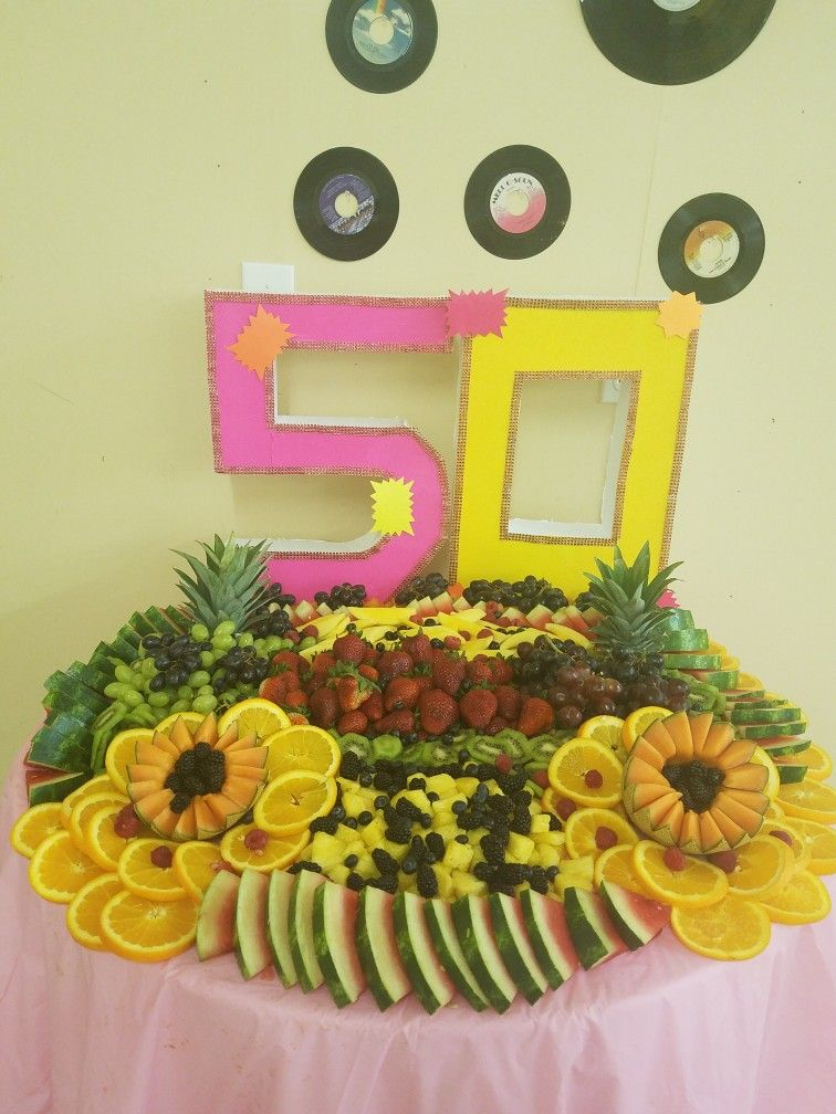 Seveties Theme 50th birthday party, 50th birthday, Fruit