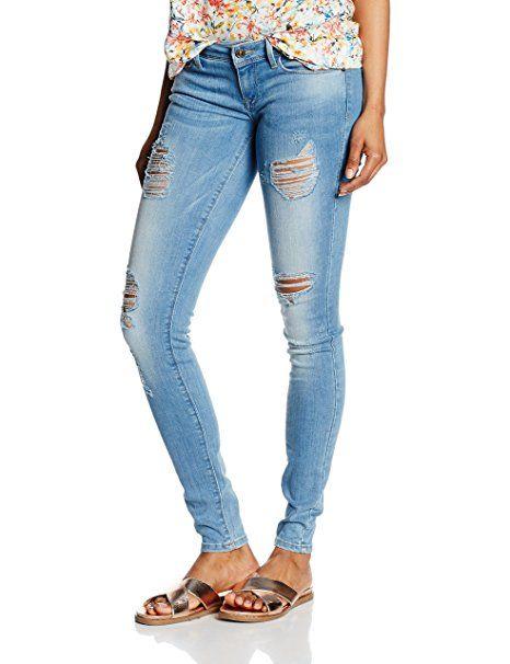 6e7156218d3f ONLY Damen Skinny Jeanshose onlCORAL SL SK DESTROY CRE332 NOOS, Blau ...