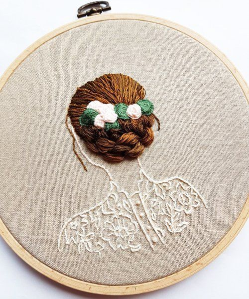 embroidery artistbernita broderi uses flowing threadto create 3D hairstyles