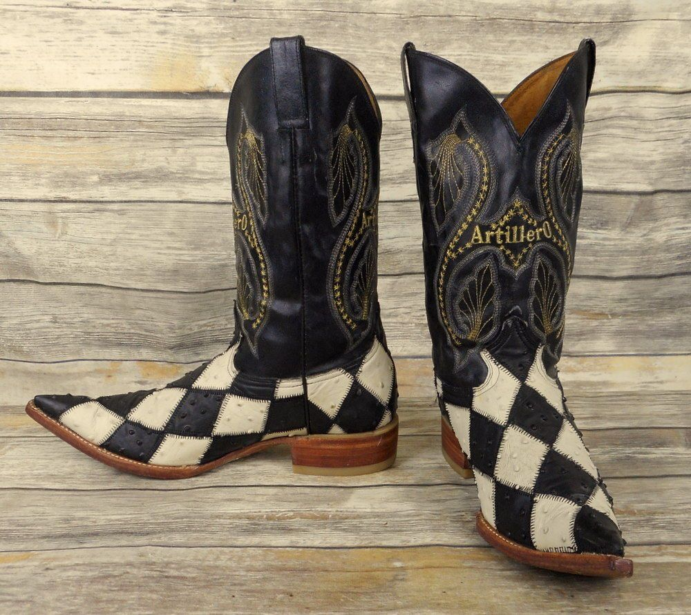 029847bd63d Mens Cowboy Boots Size 10 Black White Checkered Elongated Toe ...