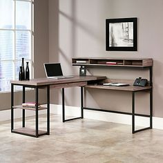 Sauder Transit Collection Multi Tiered L Shaped Desk 42 12 H X 60 34 W X 59  D Salted Oak By Office Depot U0026 OfficeMax