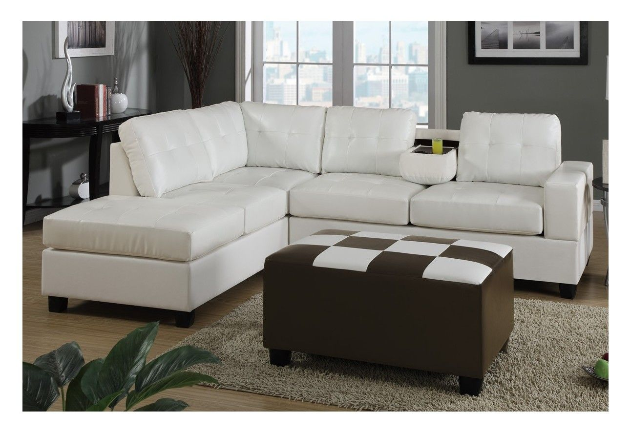 Create A Space Of Modern Style And Simple Comfort With This Bonded Leather Sectional Sofa In