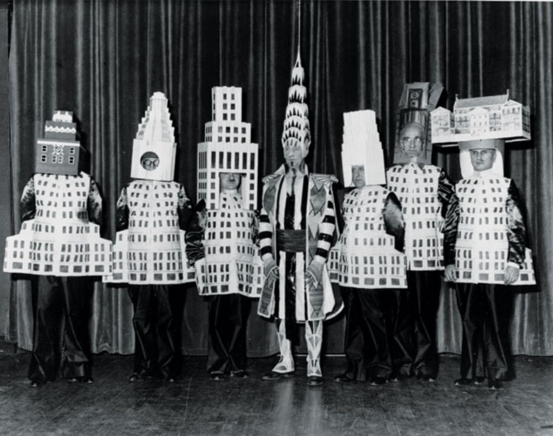 Famous New York Architects architects dressed as their famous buildings at the 1931 beaux