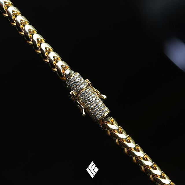 f7068224c40 Solid 14K Yellow Gold 5mm Franco Chain With Custom Fully Iced Out Clasp  With White Diamonds. Custom made to order 💎 #Franco #CustomJewelry #IFANDCO