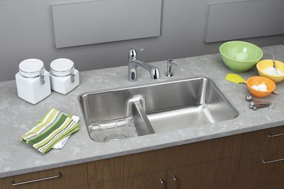 Elkay Stainless Steel Gourmet Double Basin Stainless Steel Kitchen Sink For  Undermount Installations With Split And SoundGuard Technology