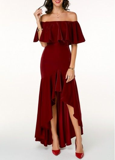 179e4776654 High Low Dresses Sparkle Wine Red Off the Shoulder High Low Dress ...