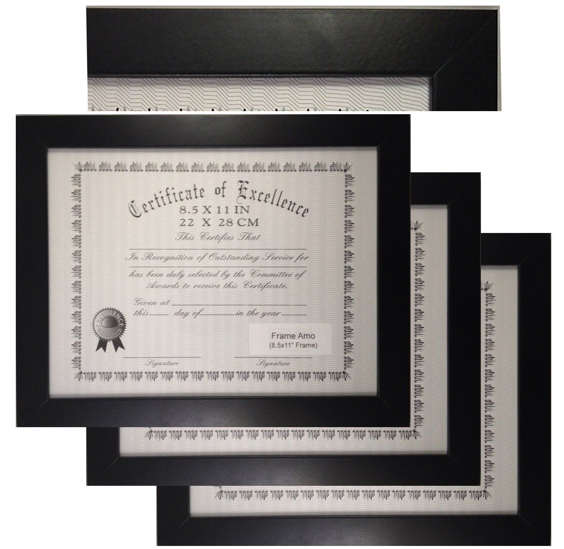 Black 8.5x11 Wood Certificate Document Frame, 1 inch Flat Border, 3 ...