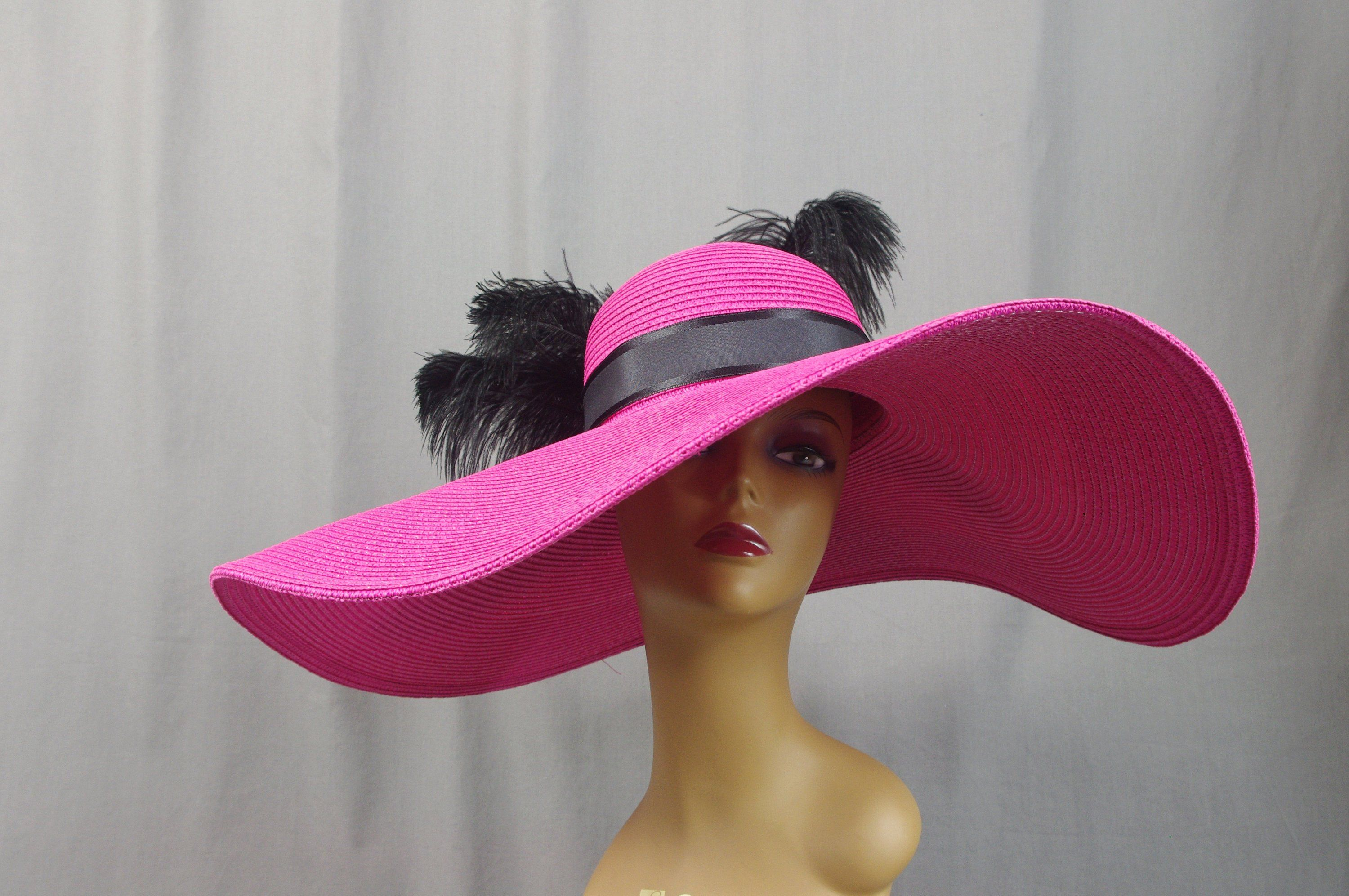 50271c33 Hot Pink Kentucky Derby Hat, Wide Brim Hat, Black and Pink Hat, Church Hat,  British Hat, Tea Party Hat, Wedding Hat, Special Occasions Hat
