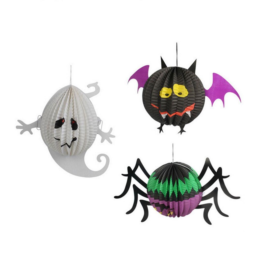 Funny Halloween Pumpkin Spider Ghost Bats Paper Lantern