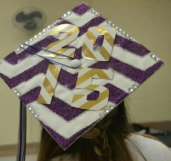 Chevron and sparkle themed graduation cap