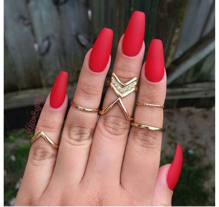 Tempted By Love Laura Red Coffin Nails